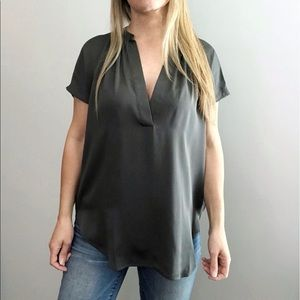 VINCE Popover silk blouse with leather trim sz XS